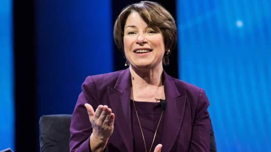 Amy Klobuchar, United States Senator, speaking at the AIPAC (American Israel Public Affairs Committee) Policy Conference at the Walter E. Washington Convention Center.