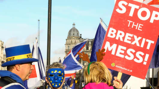 Anti-Brexit demonstrators are seen protesting outside the Houses of Parliament.