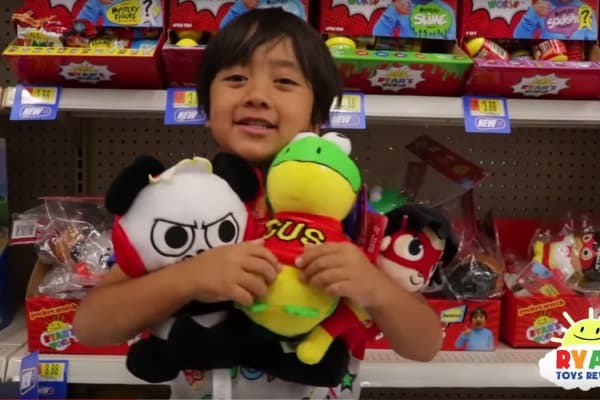 Ryan ToysReview sees his new toy collection in Walmart for the first time in a video uploaded to YouTube on August 6, 2018.