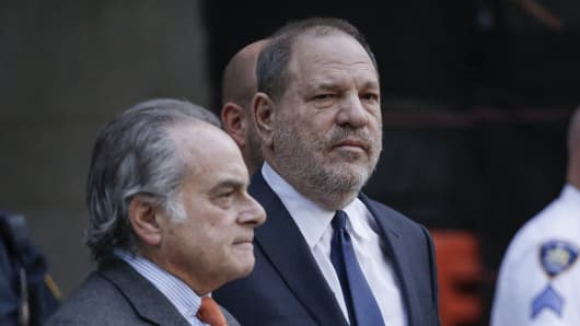 Movie producer Harvey Weinstein departs Manhattan Supreme Court in New York with his lawyer Benjamin Brafman(L) in New York on December 20, 2018, after a hearing on whether to grant or deny a motion to drop criminal sex assualt charges against Weinstein. - A US judge on Thursday refused to dismiss sexual assault charges against disgraced movie mogul Harvey Weinstein, and set the next hearing in the case for March.'