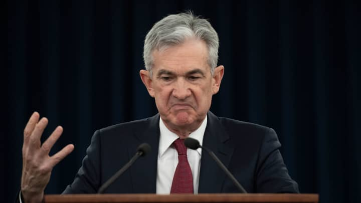 US Federal Reserve Board Chairman Jerome Powell holds a news conference after a Federal Open Market Committee meeting in Washington, DC, December 19, 2018.