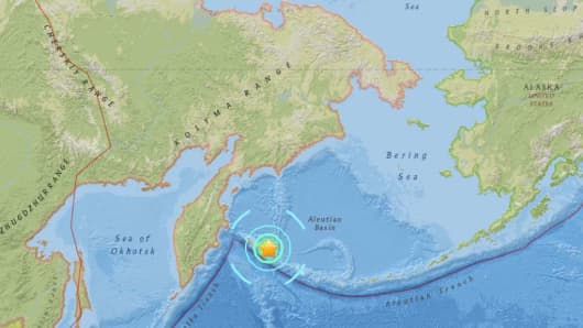 A map showing where a 7.4 magnitude earthquake struck off Russia's Kamchatka peninsula.