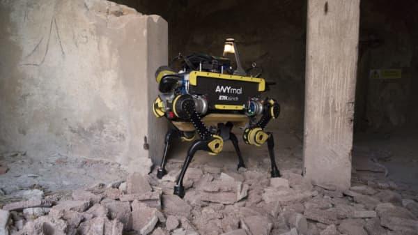 ANYbotics ANYmal robot walks over rubble