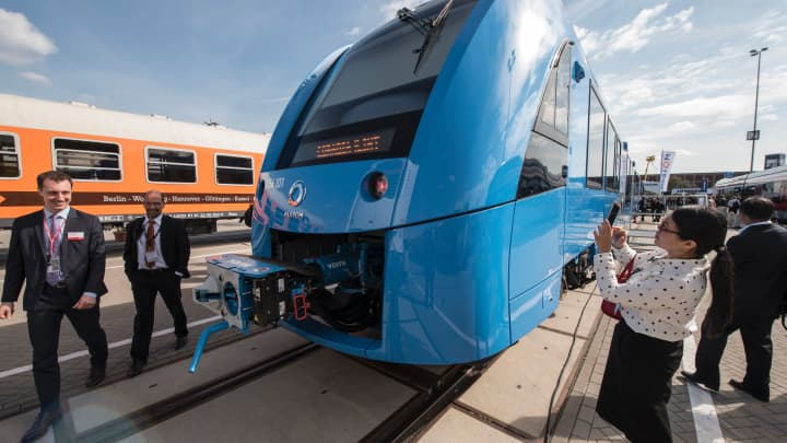 Visitors inspect the Coradia iLint, a CO2-emission-free regional train developed by French transport giant Alstom.