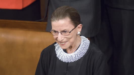 Supreme Court Justice Ruth Bader Ginsburg arrives in the House chamber before Barack Obama's first address to a joint session of the Congress in 2005.