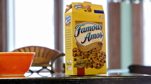 A box of Kellogg's Famous Amos brand cookies is arranged for a photograph in Tiskilwa, Illinois.