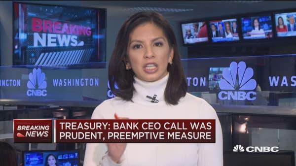 Treasury: Bank CEO call was a prudent, preemptive measure