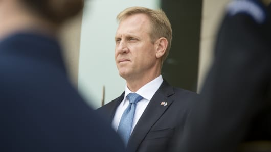 Deputy Secretary of Defense Patrick Shanahan hosts an respect thong for Bosnia and Herzegovina's Minister of Defense Marina Pendes during a Pentagon on Sept. 12, 2017.