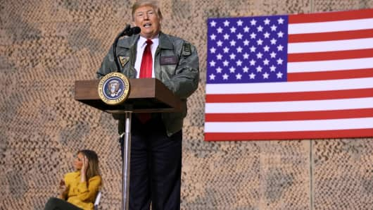 President Donald Trump delivers remarks to U.S. troops in an unannounced visit to Al Asad Air Base, Iraq December 26, 2018