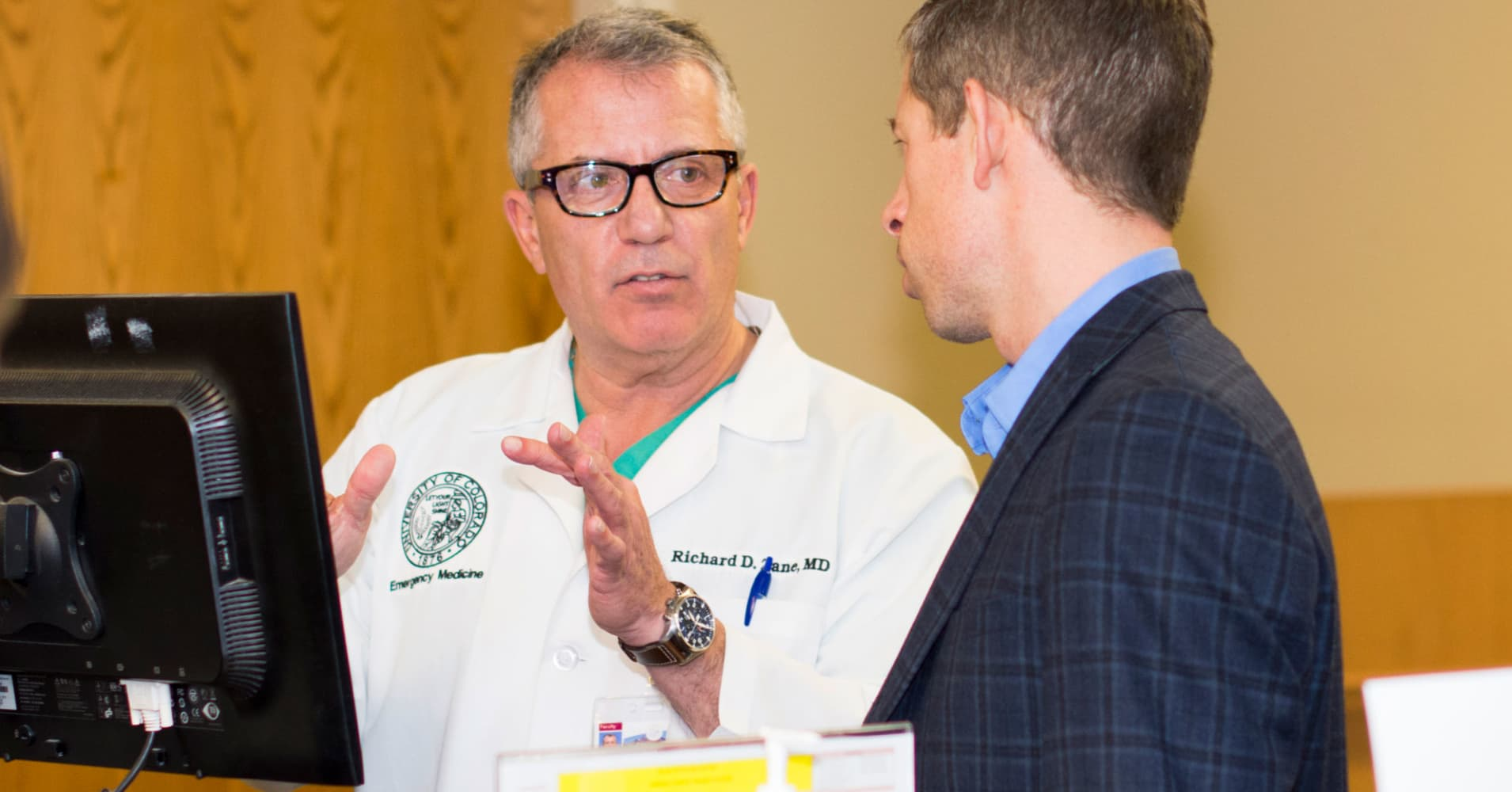 UC Health's chief innovation officer Richard Zane and local entrepreneur Carm Huntress.