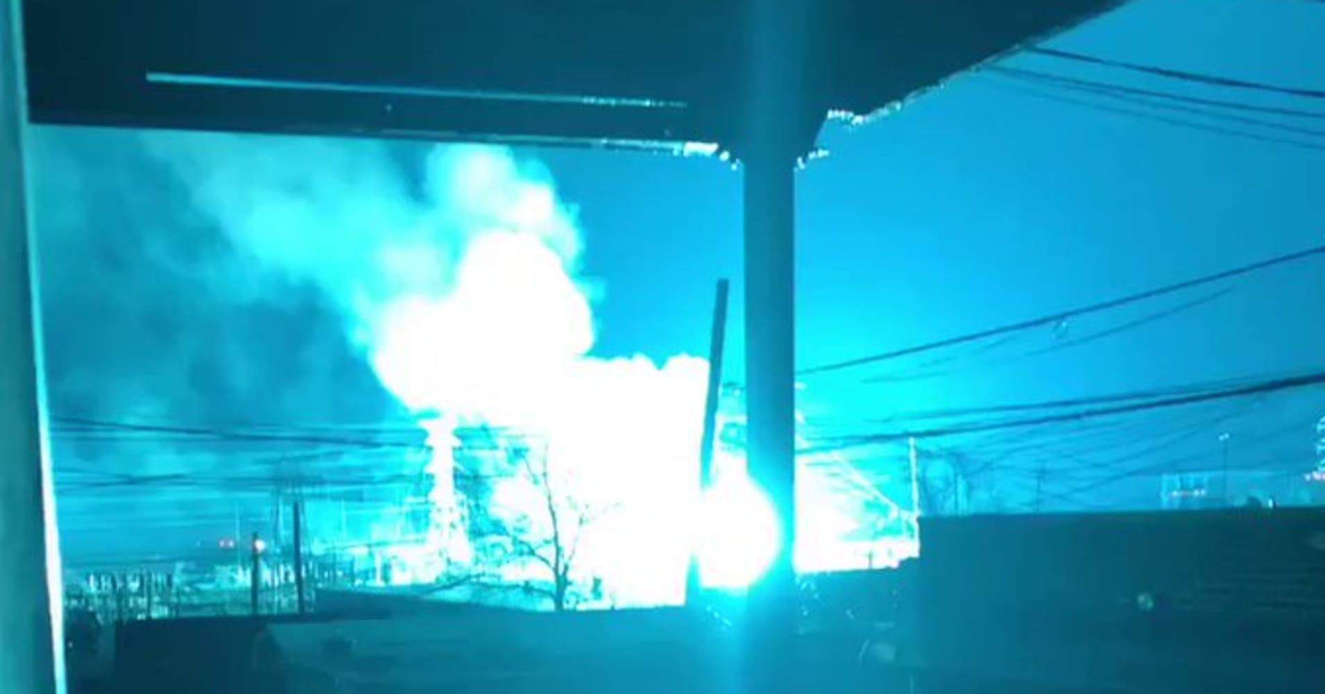 Transformer explosion in New York City lights up night sky