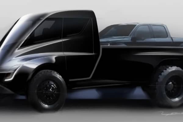 A sketch of a Tesla pickup truck concept, revealed at the firm's Semi truck and Roadster event in Hawthorne, California on November 16, 2017.