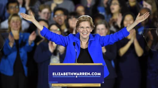 US Senator Elizabeth Warren (D-MA) speaks during the Massachusetts Democratic Coordinated Campaign election night party at the Fairmont Copley Plaza hotel in Boston, Massachusetts on November 6, 2018.