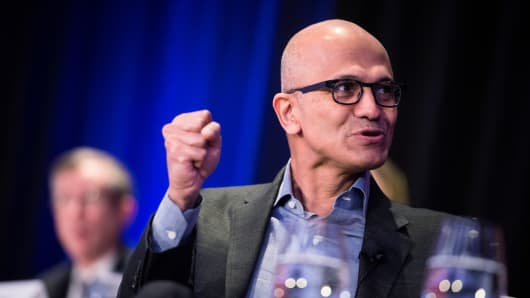 Microsoft CEO Satya Nadella speaks at an Economic Club of New York event in New York on Feb. 7, 2018.