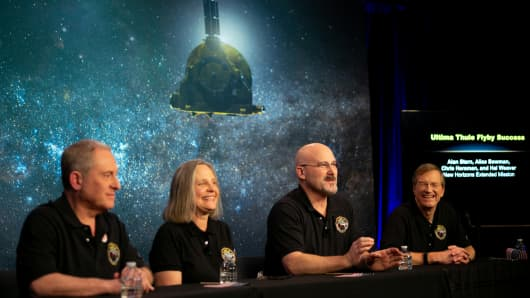 New Horizons team is seen before news conference after it received confirmation from the New Horizons spacecraft that it has completed the flyby of Ultima Thule, in Laurel, MD