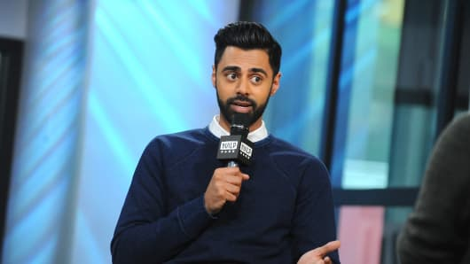 """Comedian Hasan Minhaj attends Build to discuss his new Netflix special """"Hasan Minhaj: Homecoming King"""" on May 25, 2017 in New York City."""