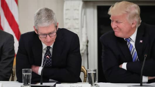 Apple CEO Tim Cook with U.S. President Donald Trump during a meeting of the American Technology Council on June 19, 2017.