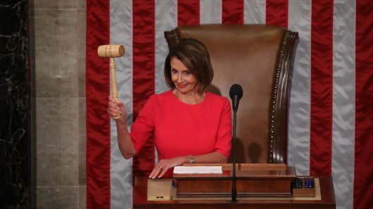 Speaker of the House Rep. Nancy Pelosi (D-CA) holds the gavel during the first session of the 116th Congress at the U.S. Capitol January 3, 2019 in Washington, DC. Under the cloud of a partial federal government shutdown, Pelosi will reclaim her former title as Speaker of the House and her fellow Democrats will take control of the House of Representatives for the second time in eight years.