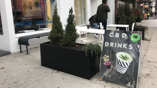 A matcha shop that offers drinks with drops of CBD oil.