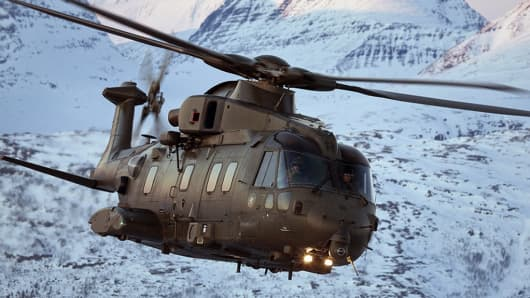 The AgustaWestland AW101 is a medium-lift helicopter used in both military and civil applications.