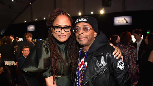 SANTA MONICA, CA - MARCH 03:  Directors Ava DuVernay (L) and Spike Lee pose during the 2018 Film Independent Spirit Awards on March 3, 2018 in Santa Monica, California.