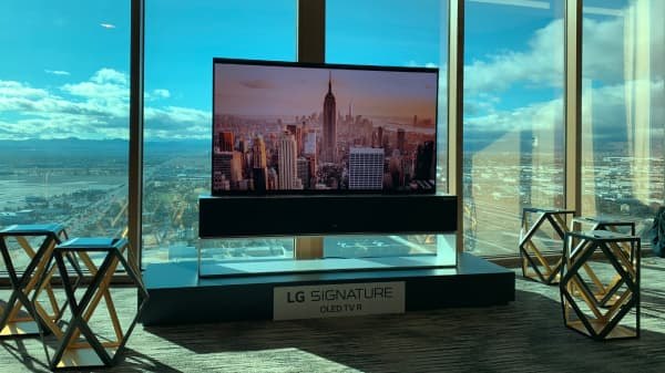 The 65-inch 4K OLED TV when it's fully unrolled.