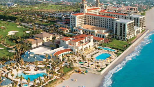 The Breakers Palm Beach resort in Palm Beach, Fla., is shown in this aerial view.