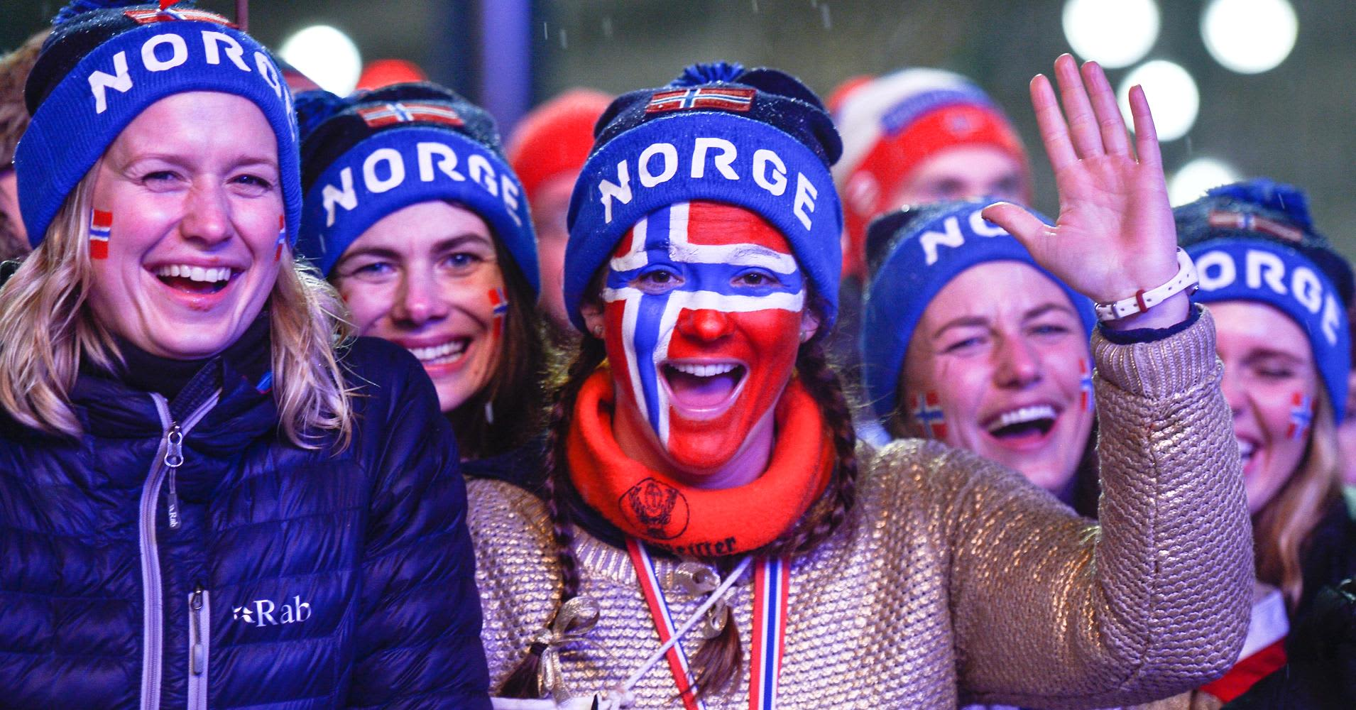 Norwegian fans celebrate.