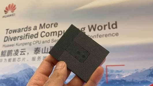 The Huawei Kunpeng 920 chipset on display at the company's headquarters in Shenzhen, China.