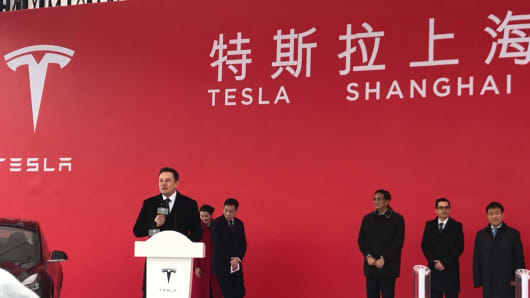 Tesla CEO Elon Musk speaks at the ground breaking for the automaker's new factory in Shanghai.