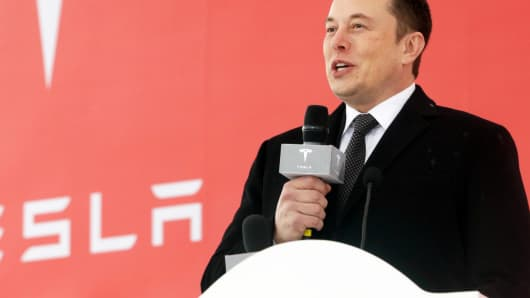 GP: Elon Musk, chief executive officer of Tesla Inc., speaks during an event at the site of the company's manufacturing facility in Shanghai, China, on Monday, Jan. 7, 2019.