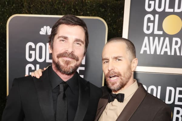 Christian Bale and Sam Rockwell arrive to the 76th Annual Golden Globe Awards held at the Beverly Hilton Hotel on January 6, 2019.