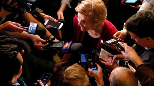 Senator Elizabeth Warren (D-MA) answers questions from reporters in Sioux City, Iowa, January 5, 2019