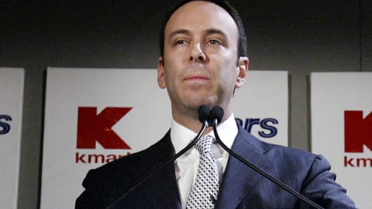 Edward Lampert speaks during a news conference to announce the merger of Kmart and Sears in New York Wednesday, Nov. 17, 2004.
