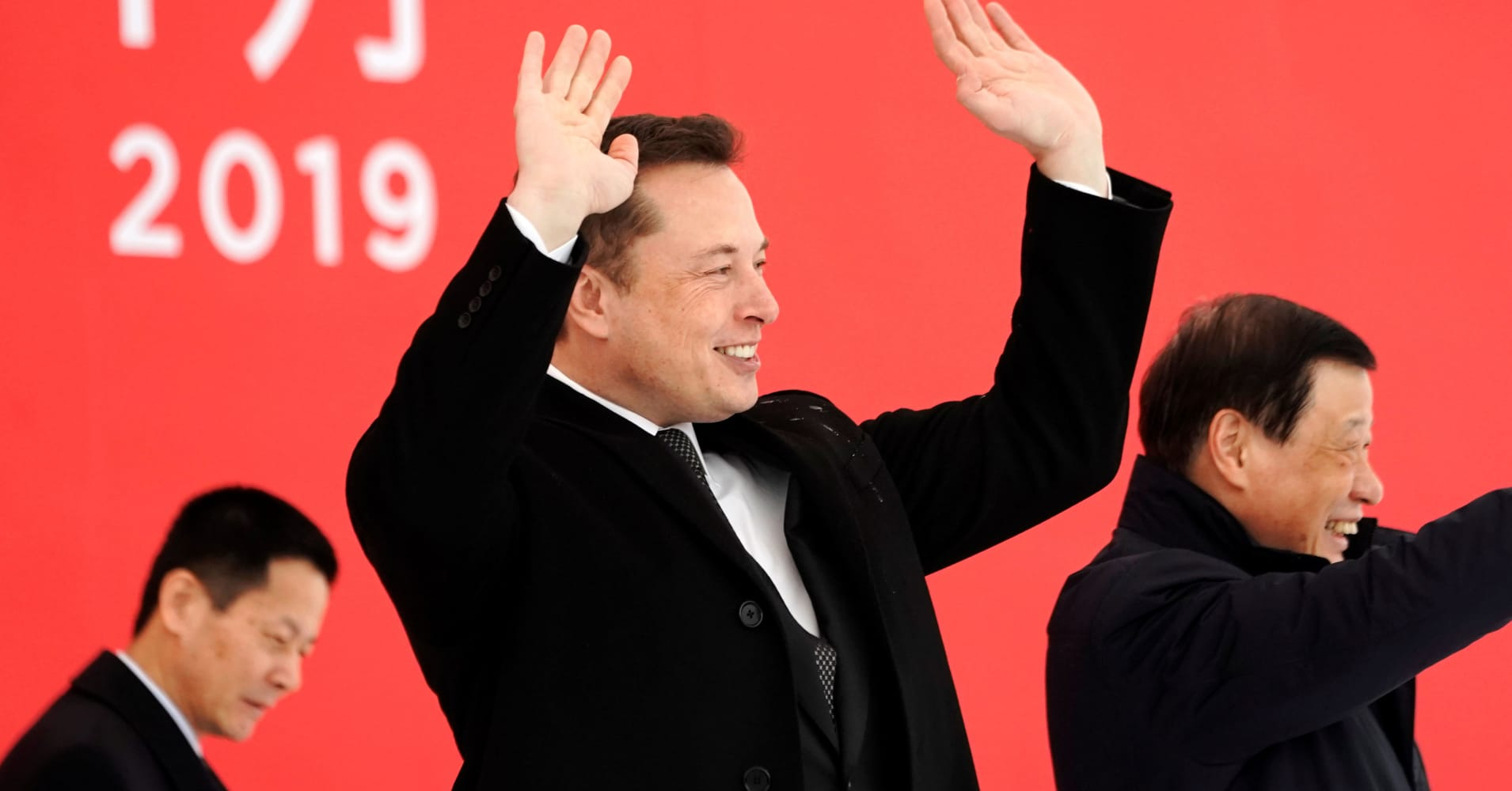 Tesla CEO Elon Musk and Shanghai's Mayor Ying Yong attend the Tesla Shanghai Gigafactory groundbreaking ceremony in Shanghai, China January 7, 2019.