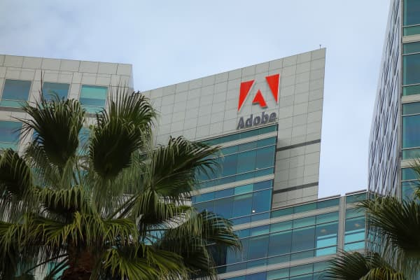 Adobe Systems world headquarters in downtown San Jose, Calif.
