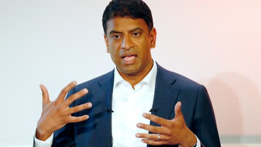 Swiss pharmaceutical and drug maker Novartis CEO Vasant Narasimhan addresses the annual results 2017 press conference in Basel on January 24, 2018.