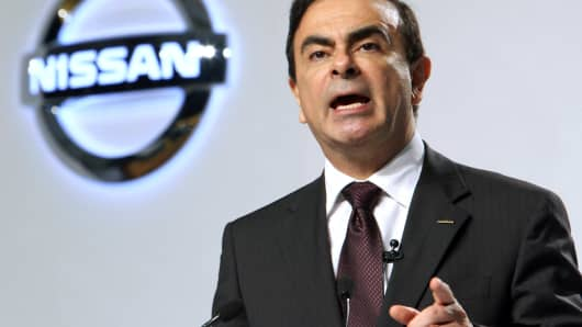 Nissan Motor's Carlos Ghosn speaks during a news conference in Jakarta, Indonesia in 2010.