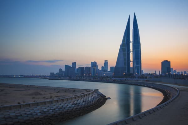 View of Bahrain World Trade Center in Manama, Bahrain