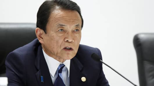 Taro Aso, Japan's finance minister, speaks during a news conference following the Group of Seven (G-7) finance ministers and central bank governors meeting in Sendai, Japan, on Saturday, May 21, 2016.