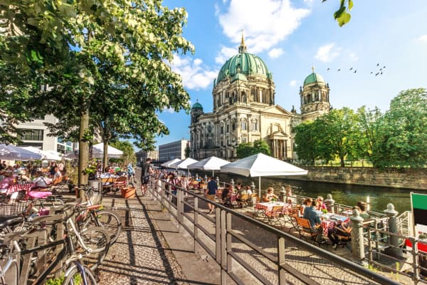 View of Spree River and Berliner Dom, Berlin, Germany. Image taken outdoors, daylight, in summer.