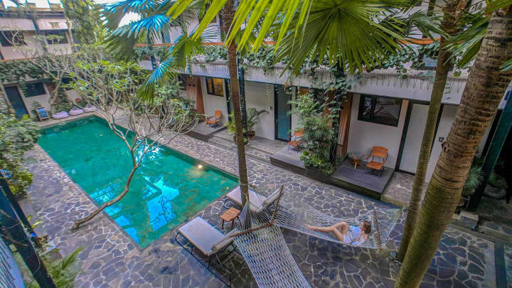 A view of the pool and rooms at co-living start-up Roam's property in Bali, Indonesia.