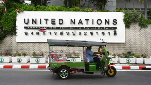 Outside the United Nations office buildings in Bangkok. The UN said on Jan. 9, 2019 that it was investigating the case of 18--year-old Saudi woman Rahaf Mohammed al-Qunun seeking asylum, after her plea against deportation.