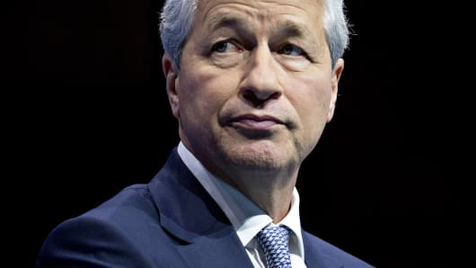 Jamie Dimon, chairman and chief executive officer of JPMorgan Chase & Co., listens during a Business Roundtable CEO Innovation Summit discussion in Washington, D.C., U.S., on Thursday, Dec. 6, 2018.