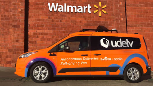 An Udelv car that's being used in Walmart's test in Arizona.