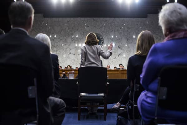 CIA Director nominee Gina Haspel is sworn in during her confirmation hearing before the Senate (Select) Committee on Intelligence May 9, 2018 in Washington, DC.