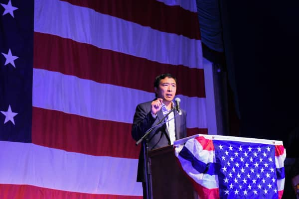 Andrew  Yang at a campaign event in Iowa.