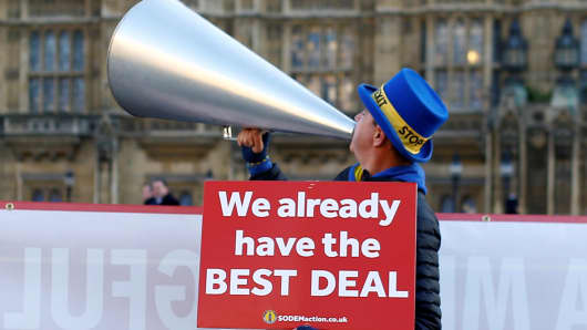 Anti-Brexit demonstrator is seen outside the Houses of Parliament in London, Britain, January 8, 2019.