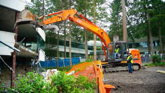 Microsoft begins demolition of Building 1 on its campus in Redmond, Wash., on Jan. 8, 2019.