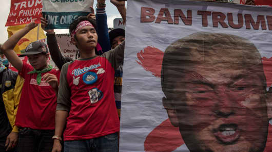 Protesters march in the Philippines ahead of U.S. President Donald Trump's arrival to Manila in November 2017.